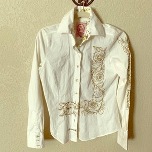 English Rose Tailored & Embroidered White LS Shirt